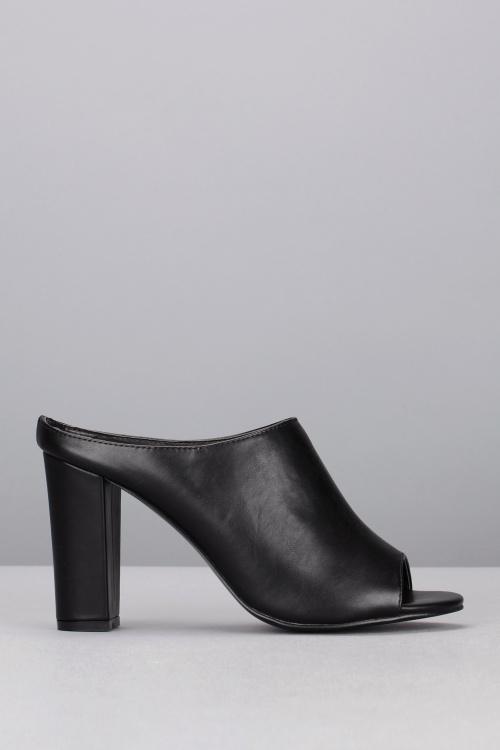 Vanessa Wu  mules noires cuir