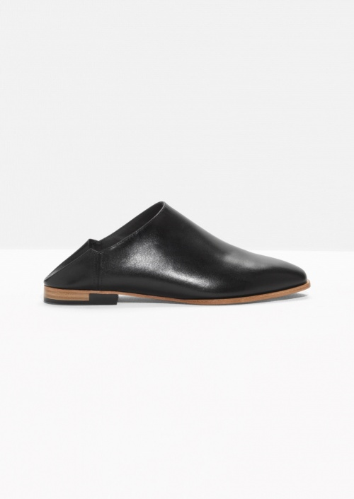 & Other Stories  mules cuir noires