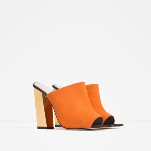 Zara  mules orange talon doré