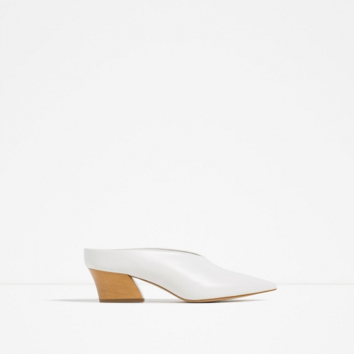 Zara  mules blanches basse coupe japonaise