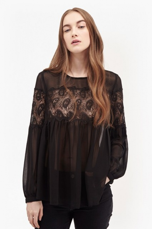 French Connection top blouse dentelle transparent