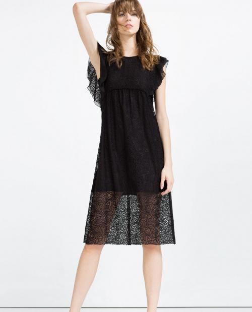 Zara robe à volants dentelle noire