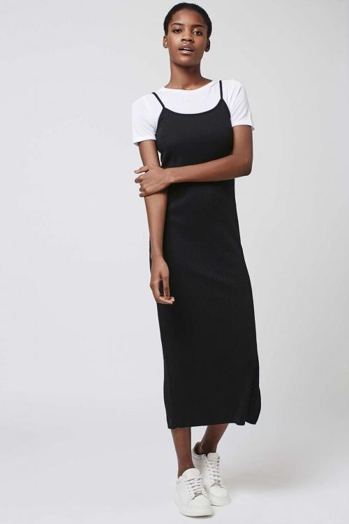 Topshop robe débardeur longue noire avec t-shirt