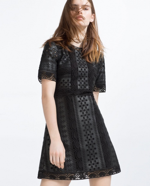Zara robe courte simili cuir ajouré