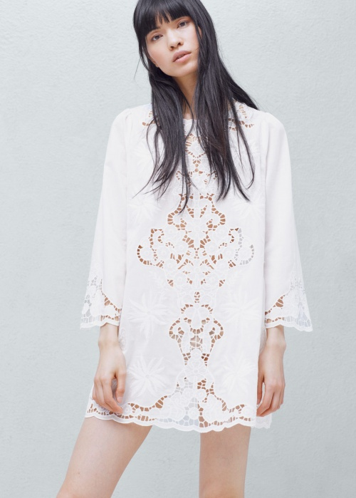 Mango robe blanche plastron brodé