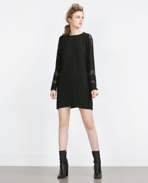 Zara - Robe empiècement dentelle front