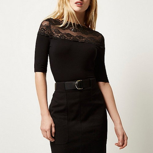 River Island - Top  col bardot dentelle