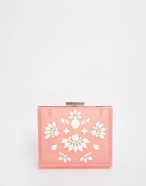 Skinnydip minaudière rose transparente strass