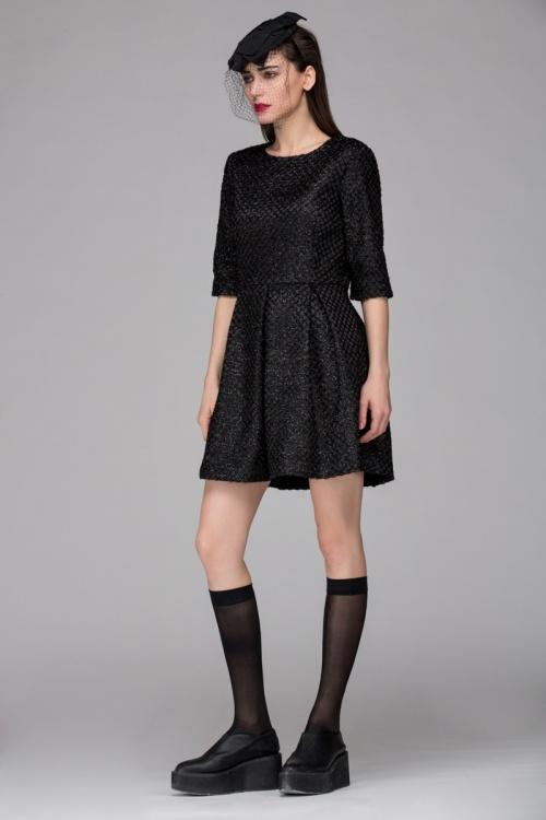 Front Row Shop robe patineuse texturée noire