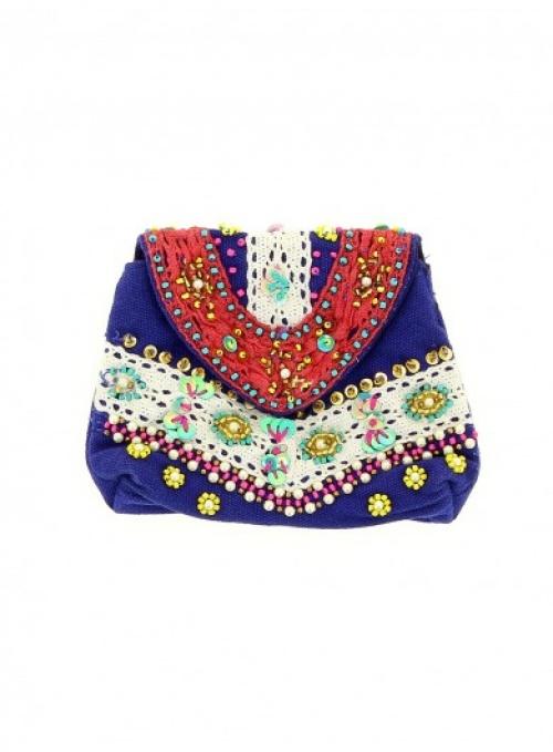 Diwali  pochette ethnique brodée bleu royal