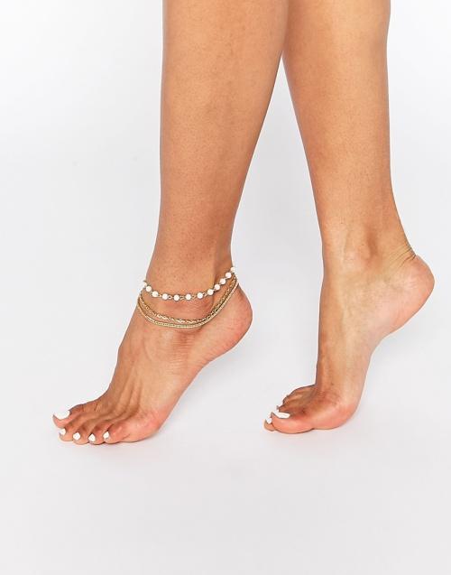 Asos bracelet de cheville double perles