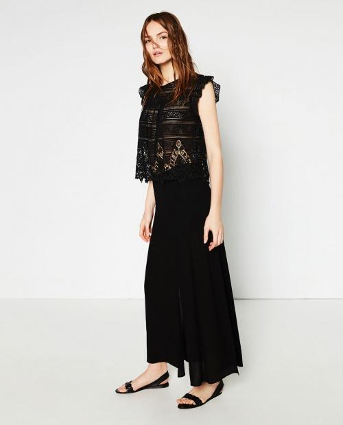 Zara top transparent long noir