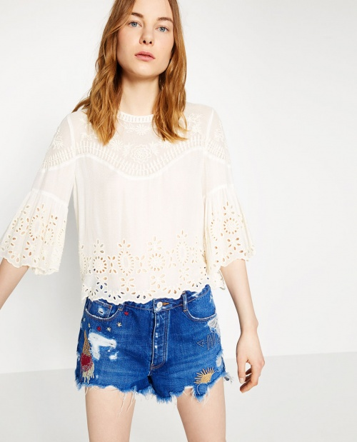 Zara  top brodé volants blanc