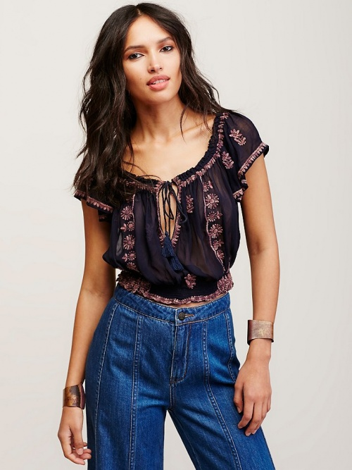 Free people top brodée ethnique traditionnel