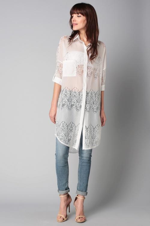Sweewë  chemise longue transparente et ajourée