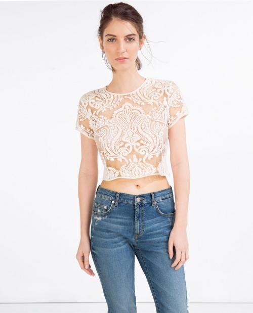 Zara crop top blanc transparent