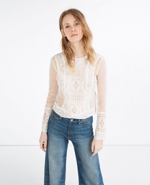 Zara top transparent brodé plastron