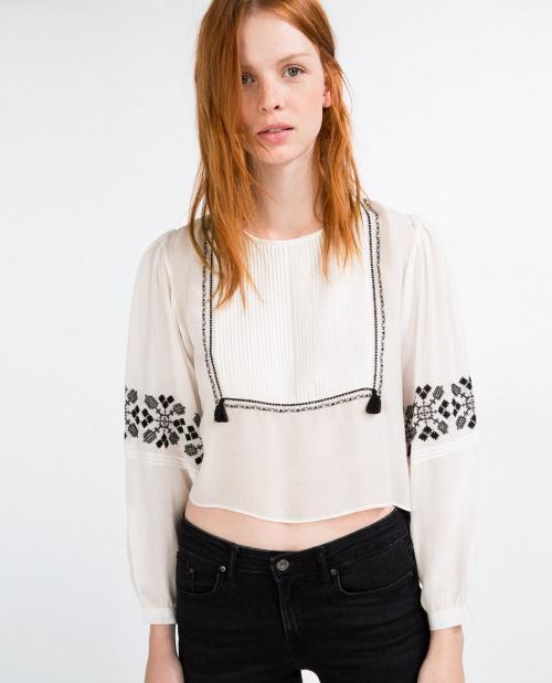 Zara top blouse ethnique brodée noir