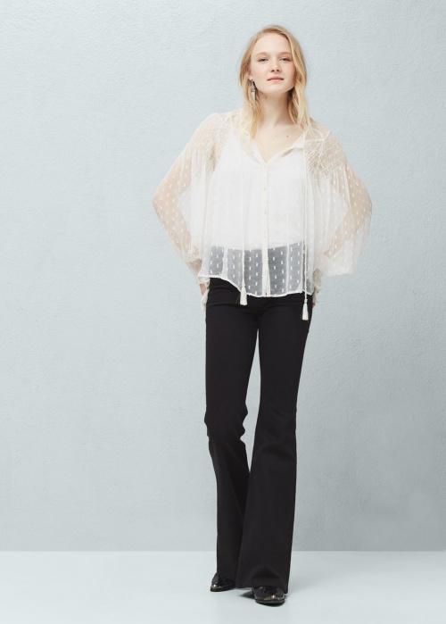 Mango  blouse transparente plumetis blanche