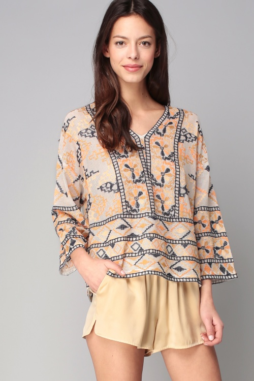 Antik Batik top ethnique ample brodé