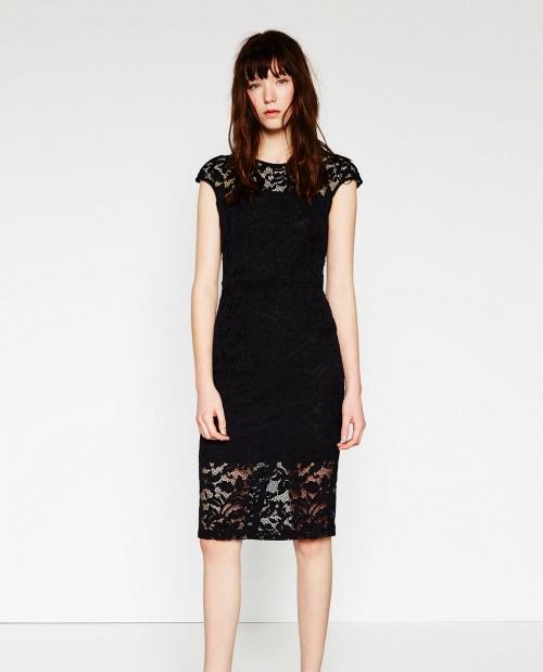 Zara robe dentelle droite noire