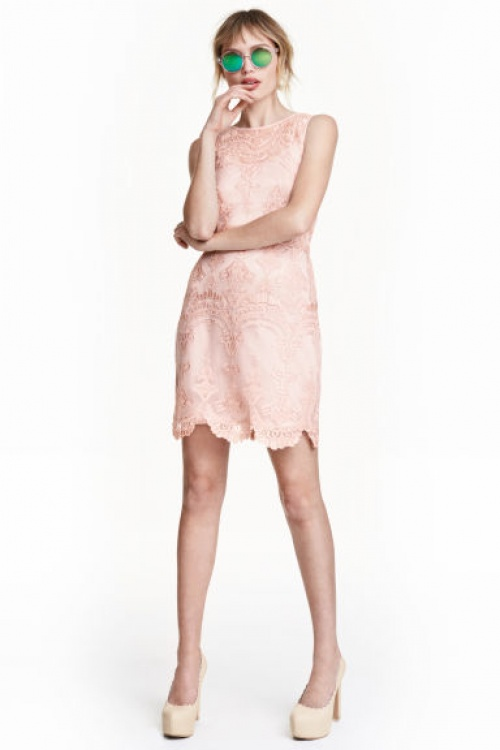 H&M  robe dentelle rose pale