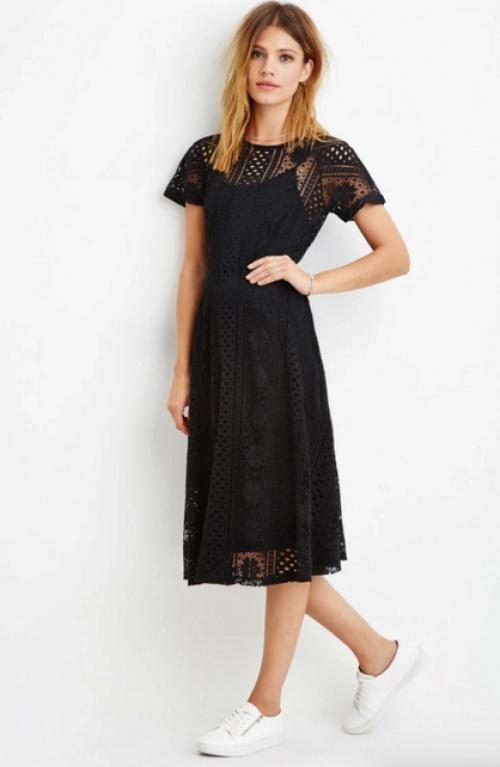 Forever 21  robe noire dentelle midi