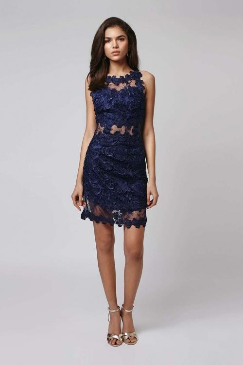 Topshop  robe dentelle ajourée bleu