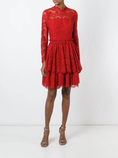 Lanvin  robe rouge dentelle