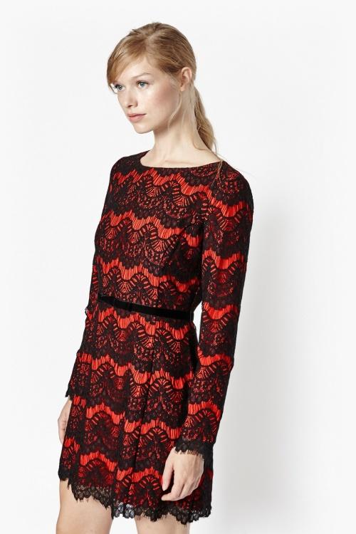 French Connection robe dentelle rouge et noire