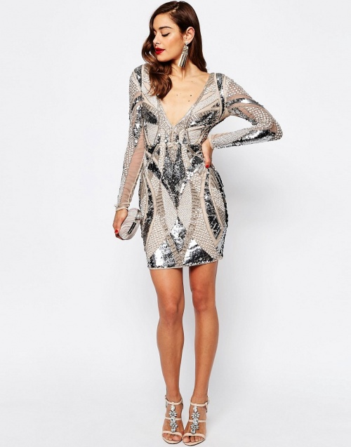 Asos - Robe strass manche longues