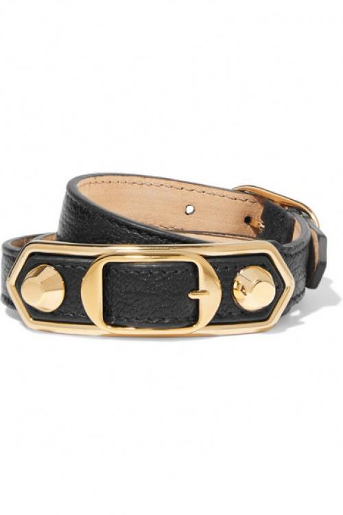 Balenciaga - Bracelet en cuir et boucles en or