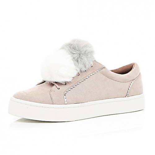 River Island - Baskets pompons rose pâle