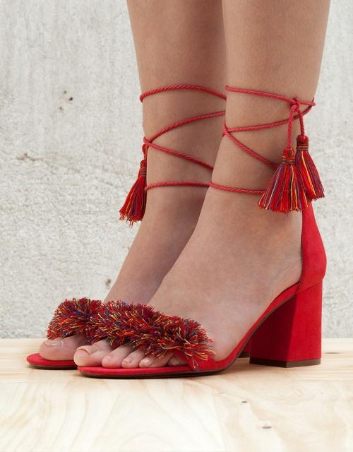 Bershka - Sandales rouge à franges courtes