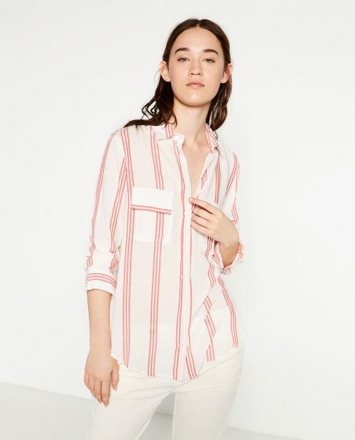 Zara chemise rayure rose pale
