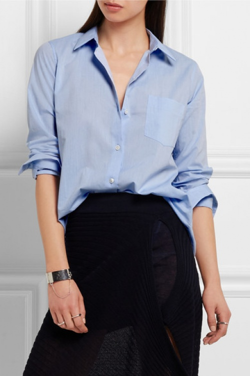 Theory  chemise casual bleue boyfriend