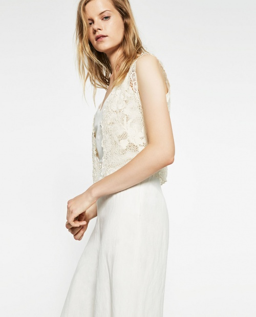 Zara top gilet crochet