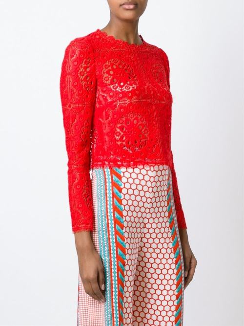Temperley London  top manches longues crochet rouge