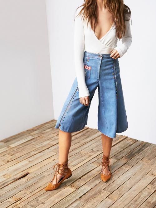 Free People jupe culotte jean ethnique