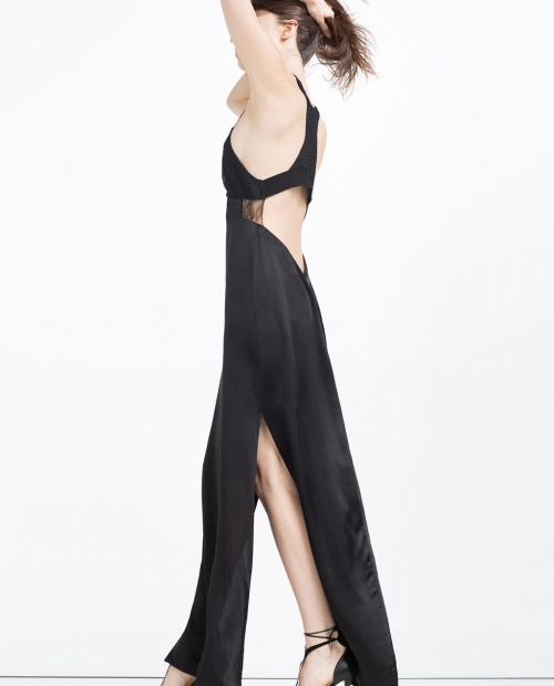 Zara robe longue empiècements dentelle ouverture dos