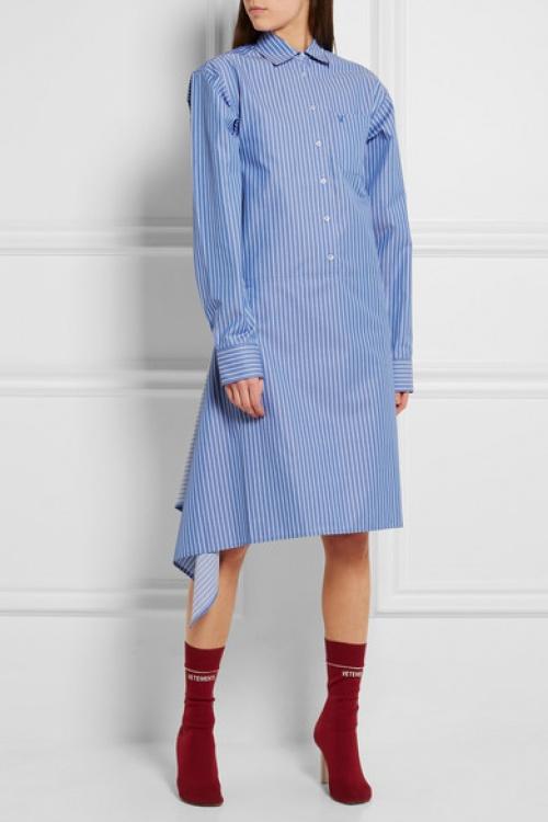 Vêtement chemise longue asymétrique rayures