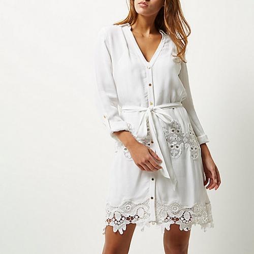 River Island robe chemise à dentelle