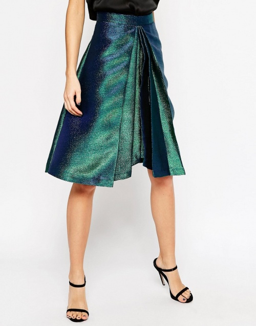 Asos jupe plissé metal vert