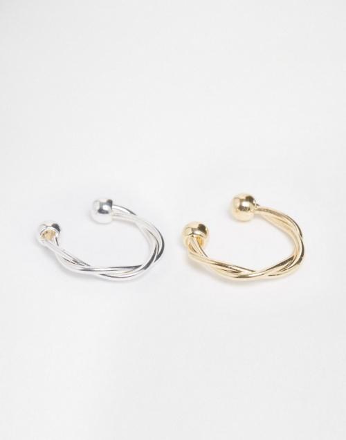 Asos lot de deux anneau fin torsadés