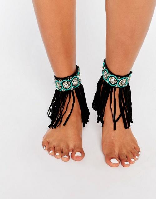 Asos bracelet de cheville frange ethnique