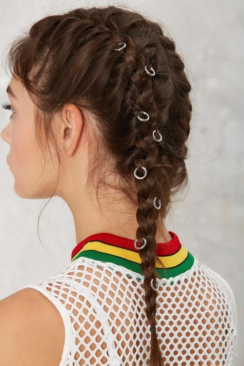 Nasty Gal anneaux de cheveux simple lot