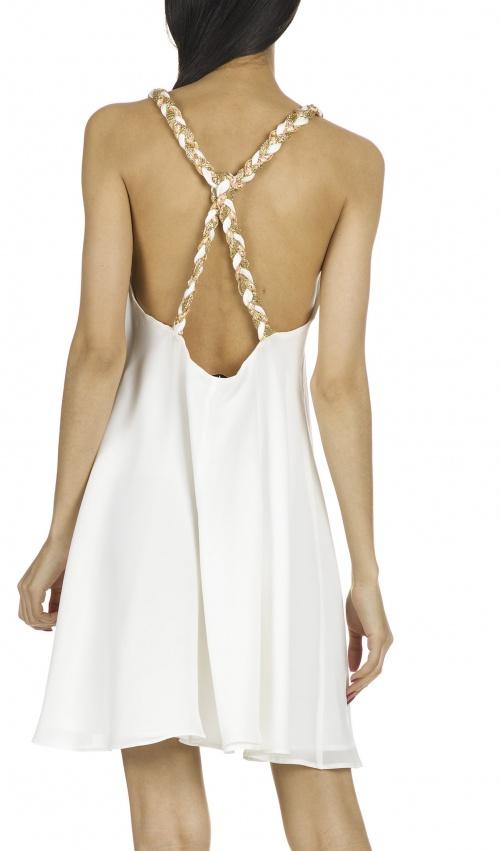 Ella Luna - Robe en soie avec galon tressé Blanc