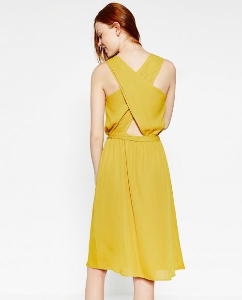 Zara - Robe mi longue jaune dos croisé