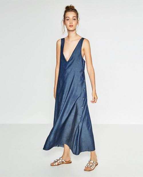 Zara robe longue jean décolleté