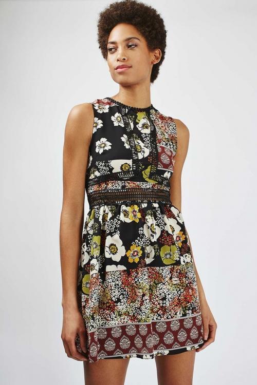 Topshop - Robe patchwork motif fleurs
